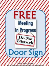 Do Not Disturb Meeting In Progress Sign Meeting Door Sign Free My Tpt Store Products Classroom Door
