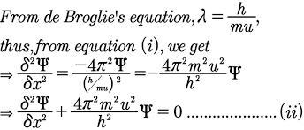 it can be developed from the general diffeial equation of wave motion in one dimension i e along x axis