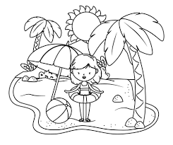 Tell your child to add a splash of. Printable Summer Girl On The Beach Coloring Page For Both Aldults And Kids