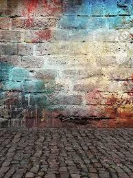 kate colorful brick graffiti wall retro