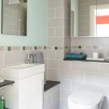 simple grey tiling ideas for small bathroom design plan with modern vanity and stylish windows