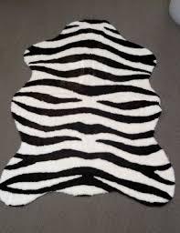 ivory brown faux fur zebra hide pelt skin rug 5x7 new