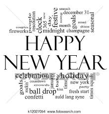 Drawings Of Happy New Year Word Cloud In Black And White K12027054