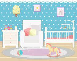 Baby Room Interior. Flat Design ...