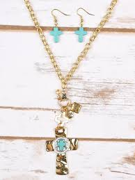 turquoise stone on cross pendant necklace and earring set gold