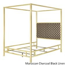 Solivita Queen-size Canopy Gold Metal Poster Bed by Inspire Q (Moroccan  Charcoal Black