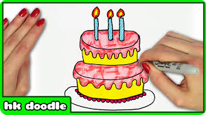 How To Draw A Birthday Cake By Hooplakidz Doodle Drawing Tutorial