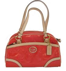 Coach 20065 Payton Embossed Patent Leather Signature Satchel Papaya Orange  Tan