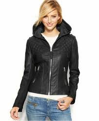 details about new michael kors 480 black knit inset hooded leather jacket sz xs extra small