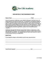 Field Trip Permission Slip 2018 2019 New Life Academy