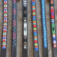 maasai leather beaded dog collars from kenya for