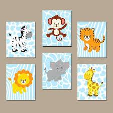animal wall decor baby boy safari nursery art jungle animals canvas or prints zoo theme set