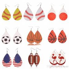 leather earrings personalized baseball earrings sports girls earrings unique kids fashion jewelry football flamingo 24 designs yw2425 jewellery for young