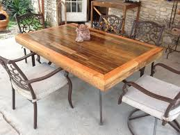 picture of patio tabletop made from reclaimed deck wood
