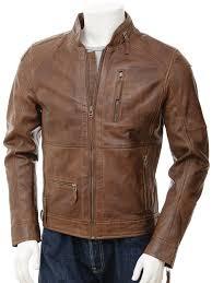 men s leather biker jacket in brown bellever closed