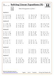 fun math worksheets algebra solving equations at ks3 and ks4
