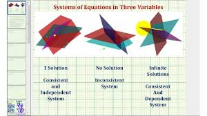 ex 5 system of three equations with three unknowns using elimination infinite solutions