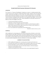 Social Work Resume Summary Of Qualifications Resume For Study