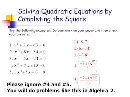 solving quadratic equations by completing the square worksheet algebra 1 as well as pleting the square
