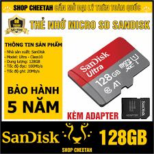 Mã ELMS05 giảm 5% đơn 300k]Thẻ nhớ 128GB SanDisk kèm Adapter – MicroSD  Ultra Class10 – CHÍNH HÃNG – Bảo hành 5 năm - Thẻ nhớ máy ảnh