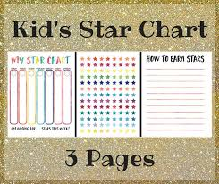 Kids Chore Chart Printable Star Chart For Kids Behavior