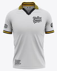 You can place your logo design or branding design elements on a jersey, left and right shorts, both socks and change the color easily. Men S Soccer Jersey Mockup Front View Of Soccer Polo T Shirt In Apparel Mockups On Yellow Images Object Mockups