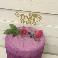 Love Mr Mrs Birthday Bride Cake Topper Glitter Gold Wedding Decor