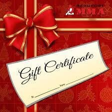 Holiday Gift Certificate Holiday Gift Certificate Beaufort Mma