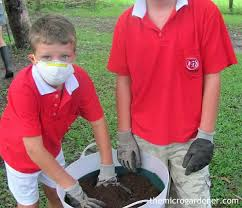remember to wear suitable protective clothing when making potting mix