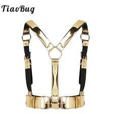 tiaobug fashion gold uni punk faux leather women men chest harness waist belt club wear y rave party belt top