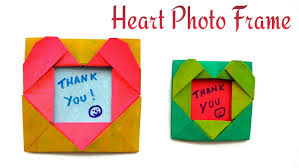 heart photo picture frame for valentine s day diy origami tutorial by paper folds you