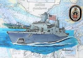 Us Navy Ship Chart Details About Uss Portland Lpd 27 Nautical Chart Art Print Painting Us Navy Ship Veteran Gift