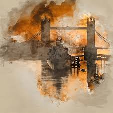 watercolour painting of stunning autumn sunrise over river thames and tower bridge in london photograph by matthew gibson