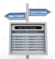3d Road Sign Of Text Good Credit And Bad Credit With Chart