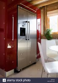 Large Kitchen Dining Room Large Stainless Steel American Style Fridge Freezer In Modern