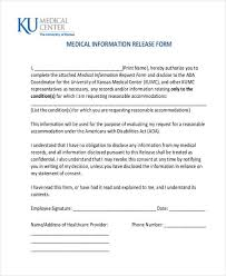 release of medical information template free release forms