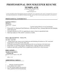Housekeeper Resume Samples Private Home Sample Hotel Housekeeping