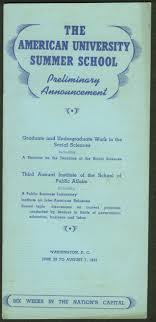 american university summer preliminary ouncement 1937 washington dc