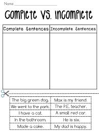 Complete Sentences vs. Incomplete Sentences Sorting Worksheets ...