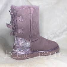 Light Pink Uggs Bailey Bow Bling Pink Uggs Personalized Bailey Bow Uggs Custom Hand