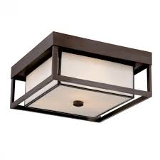 Three Light Western Bronze White Square Glass Outdoor Flush Mount - Flush mount exterior light fixtures