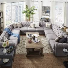 U Shaped Couch Living Room Furniture Knightsbridge Tufted Scroll Arm Chesterfield 11 Seat U Shaped