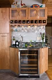 Fascinating Corner Bar with Wine Bottle Boxes Cabinett, Spacious Stemware  Wine Glass Rack, and White Ceramic Tile - Under Cabinet Wine Glass Rack