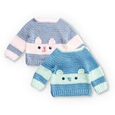 Yarnspirations Patterns Cool Bernat Crochet Character Sweaters Kitty 48 Mos Pattern