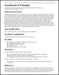 How To Format References On A Resume New Coordinator CV Sample MyperfectCV