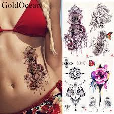 436 руб 10 скидка19x9 см акварель большой розы браслет татуировки наклейки для