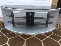silver grey glass top tv stand with glass shelves