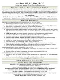 Clinical Dietitian Resume Example - Nutritionist - Research Assistant
