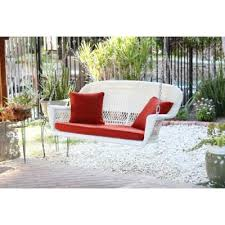 51 5 hand woven white resin wicker outdoor porch swing with red cushion