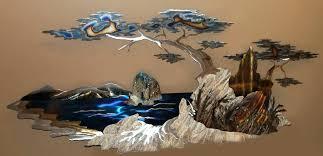 brilliant 3d metal wall art home design ideas decor sculpture mountain sea formed white mural cars